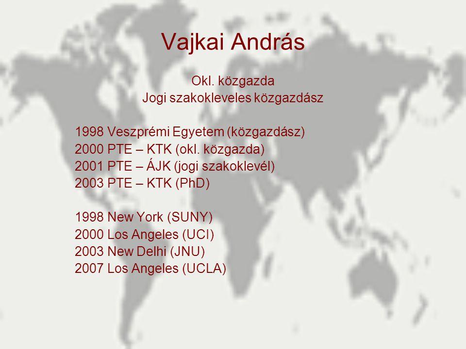 Vajkai András Okl. közgazda Jogi szakokleveles közgazdász 1998 Veszprémi Egyetem (közgazdász) 2000 PTE – KTK (okl. közgazda) 2001 PTE – ÁJK (jogi szak