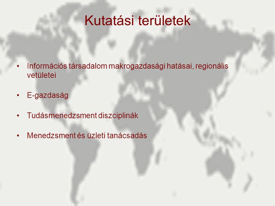 Kutatási területek •Információs társadalom makrogazdasági hatásai, regionális vetületei •E-gazdaság •Tudásmenedzsment diszciplinák •Menedzsment és üzl
