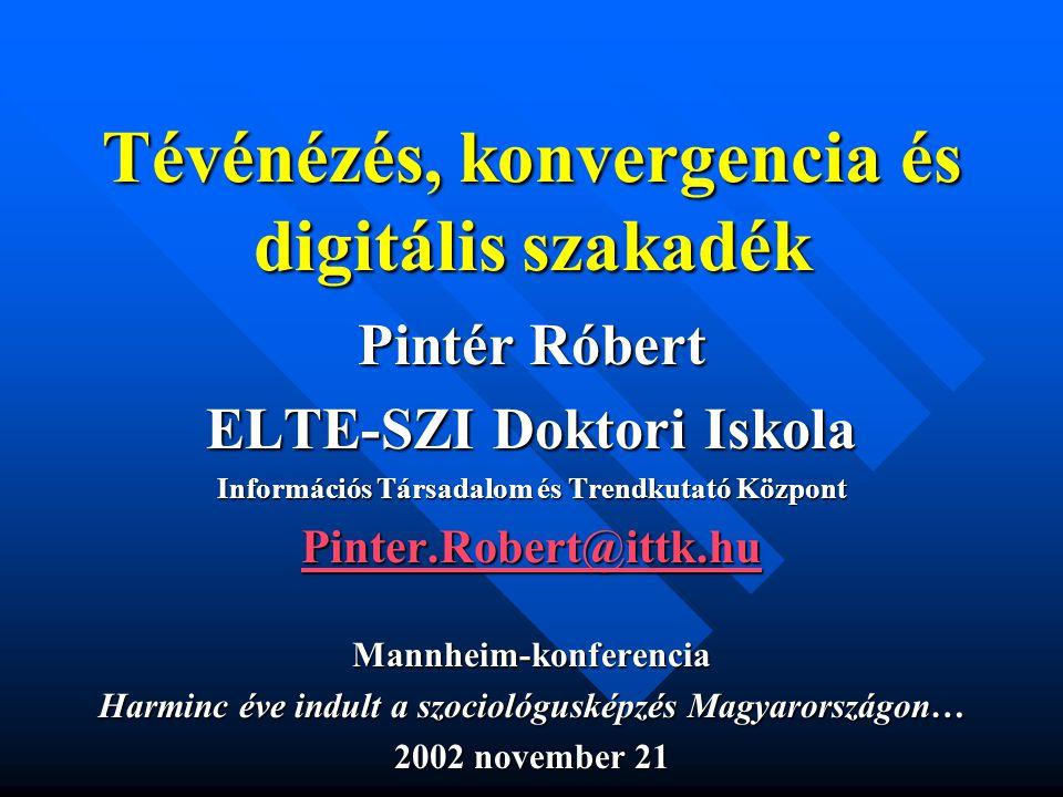 Tévénézés, konvergencia és digitális szakadék Pintér Róbert ELTE-SZI Doktori Iskola Információs Társadalom és Trendkutató Központ Pinter.Robert@ittk.hu Mannheim-konferencia Harminc éve indult a szociológusképzés Magyarországon… 2002 november 21