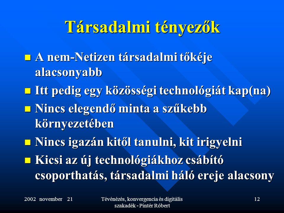 2002 november 21Tévénézés, konvergencia és digitális szakadék - Pintér Róbert 12 Társadalmi tényezők  A nem-Netizen társadalmi tőkéje alacsonyabb  Itt pedig egy közösségi technológiát kap(na)  Nincs elegendő minta a szűkebb környezetében  Nincs igazán kitől tanulni, kit irigyelni  Kicsi az új technológiákhoz csábító csoporthatás, társadalmi háló ereje alacsony
