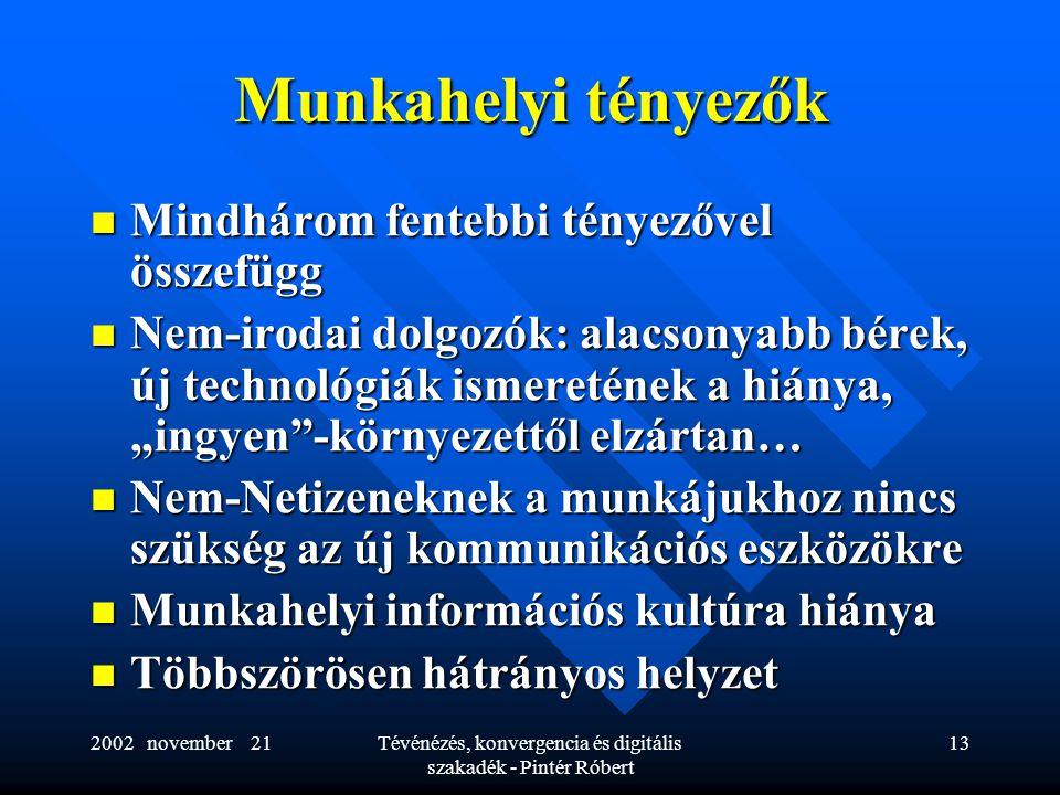 """2002 november 21Tévénézés, konvergencia és digitális szakadék - Pintér Róbert 13 Munkahelyi tényezők  Mindhárom fentebbi tényezővel összefügg  Nem-irodai dolgozók: alacsonyabb bérek, új technológiák ismeretének a hiánya, """"ingyen -környezettől elzártan…  Nem-Netizeneknek a munkájukhoz nincs szükség az új kommunikációs eszközökre  Munkahelyi információs kultúra hiánya  Többszörösen hátrányos helyzet"""