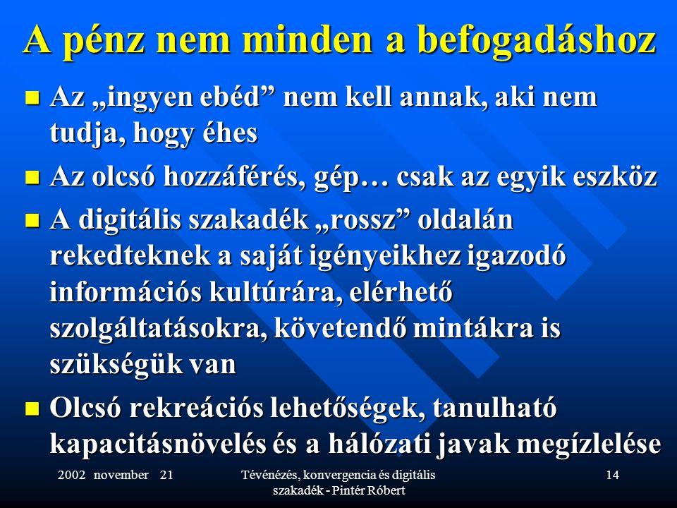 """2002 november 21Tévénézés, konvergencia és digitális szakadék - Pintér Róbert 14 A pénz nem minden a befogadáshoz  Az """"ingyen ebéd"""" nem kell annak, a"""