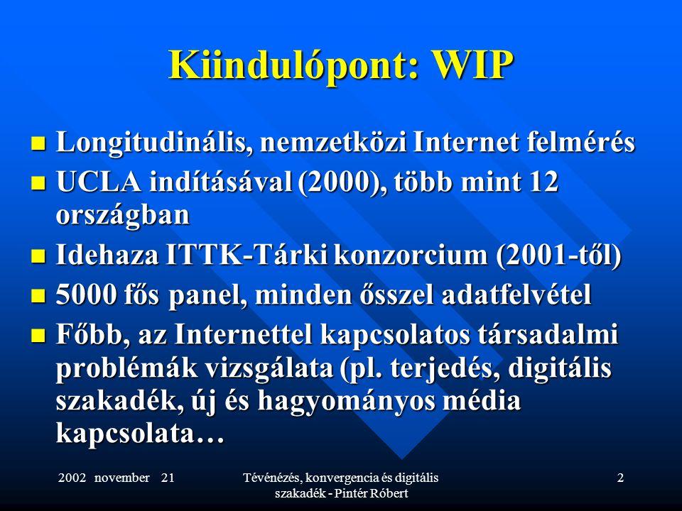 Tévénézés, konvergencia és digitális szakadék - Pintér Róbert 2 Kiindulópont: WIP  Longitudinális, nemzetközi Internet felmérés  UCLA indításával (2000), több mint 12 országban  Idehaza ITTK-Tárki konzorcium (2001-től)  5000 fős panel, minden ősszel adatfelvétel  Főbb, az Internettel kapcsolatos társadalmi problémák vizsgálata (pl.