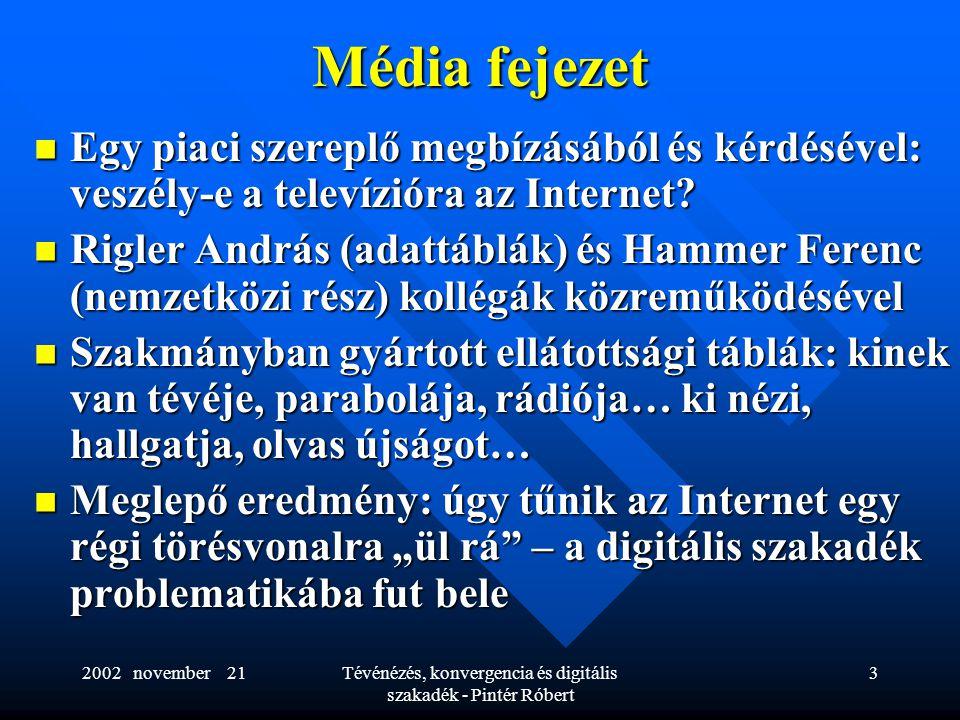 2002 november 21Tévénézés, konvergencia és digitális szakadék - Pintér Róbert 3 Média fejezet  Egy piaci szereplő megbízásából és kérdésével: veszély-e a televízióra az Internet.