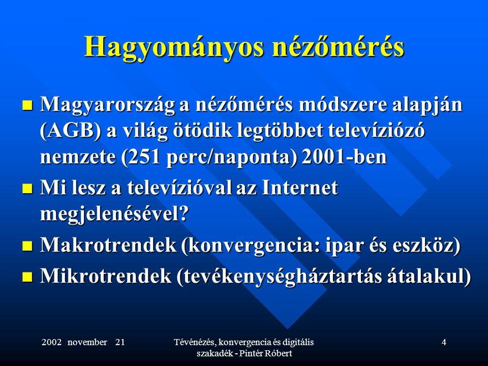 2002 november 21Tévénézés, konvergencia és digitális szakadék - Pintér Róbert 4 Hagyományos nézőmérés  Magyarország a nézőmérés módszere alapján (AGB) a világ ötödik legtöbbet televíziózó nemzete (251 perc/naponta) 2001-ben  Mi lesz a televízióval az Internet megjelenésével.