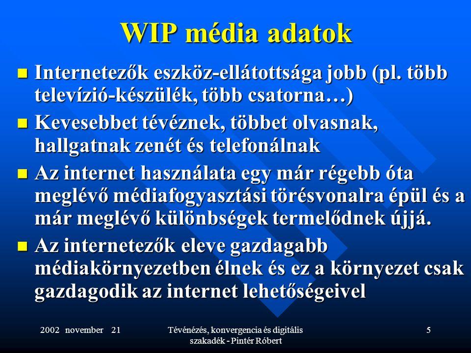 2002 november 21Tévénézés, konvergencia és digitális szakadék - Pintér Róbert 5 WIP média adatok  Internetezők eszköz-ellátottsága jobb (pl. több tel