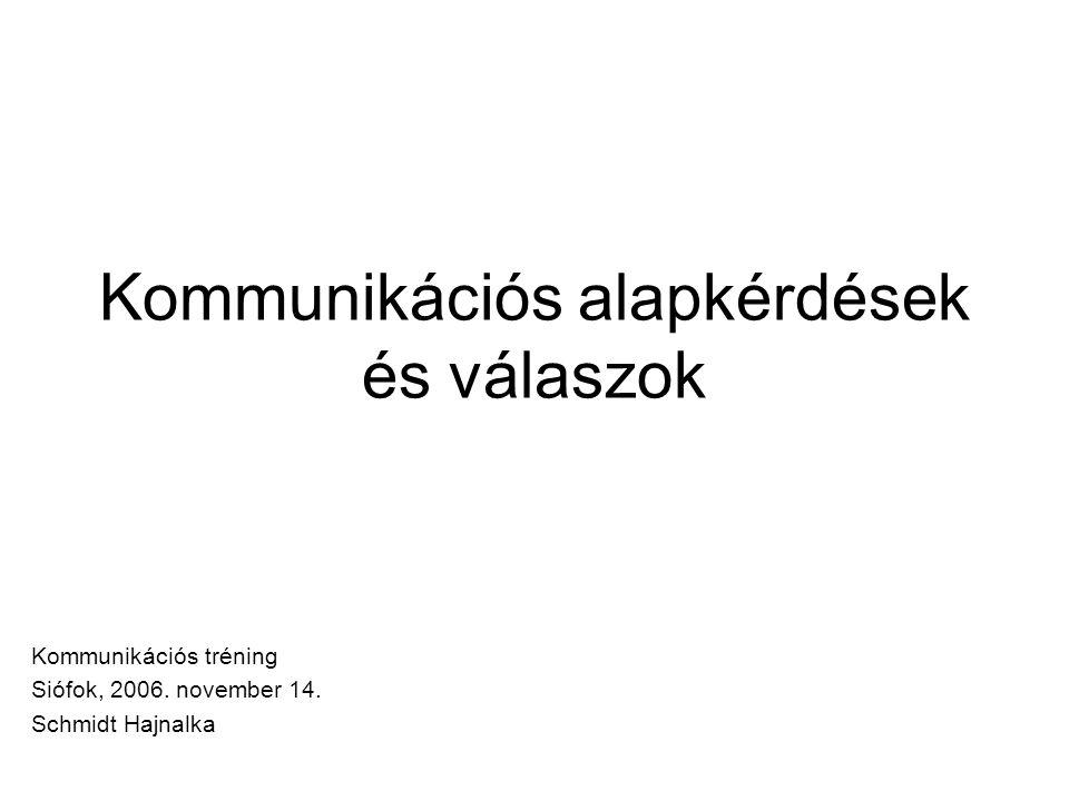 Kommunikációs alapkérdések és válaszok Kommunikációs tréning Siófok, 2006. november 14. Schmidt Hajnalka