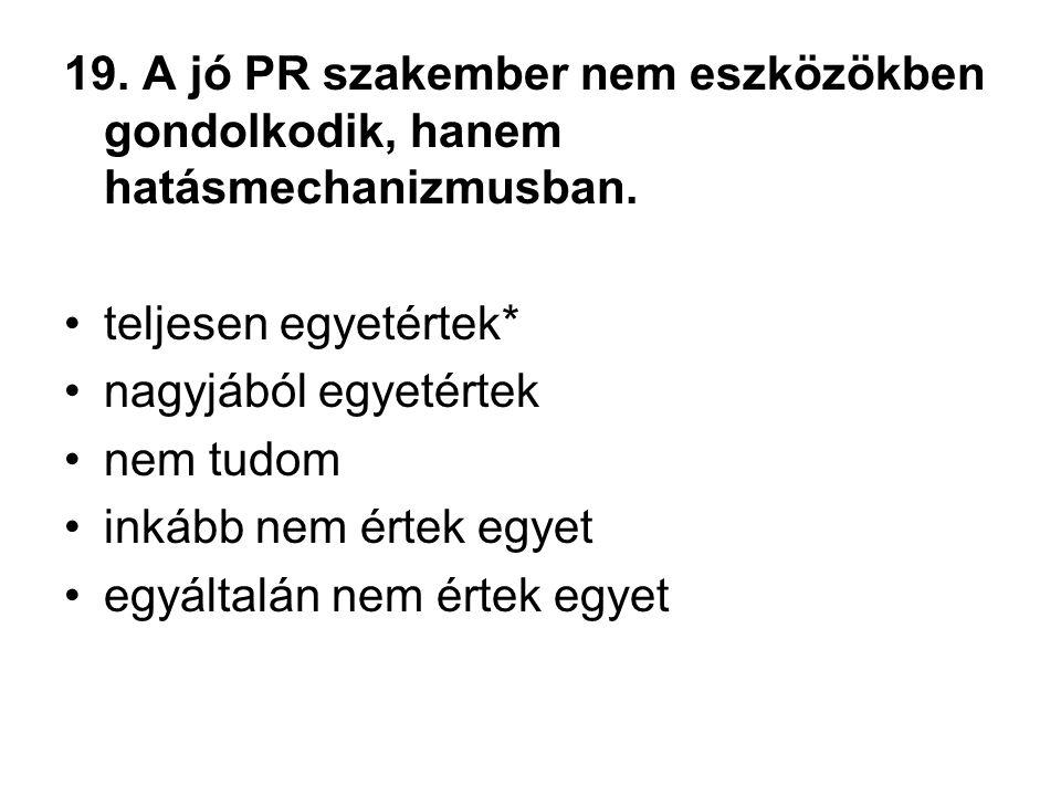19. A jó PR szakember nem eszközökben gondolkodik, hanem hatásmechanizmusban.