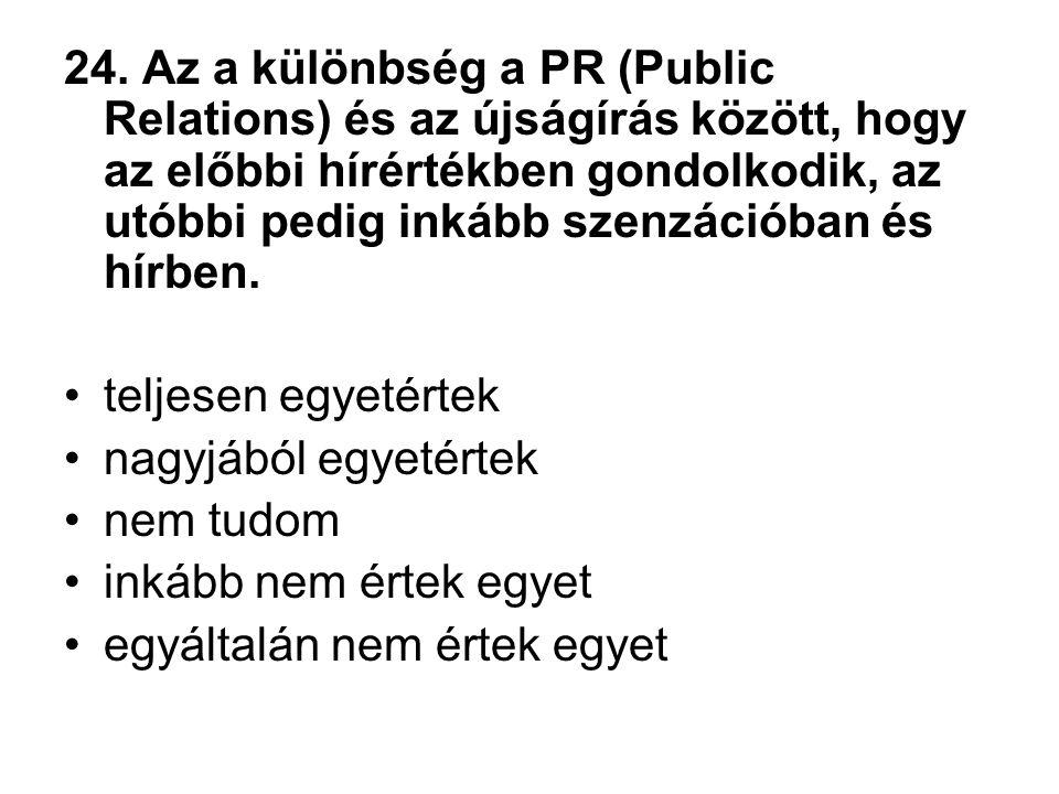 24. Az a különbség a PR (Public Relations) és az újságírás között, hogy az előbbi hírértékben gondolkodik, az utóbbi pedig inkább szenzációban és hírb