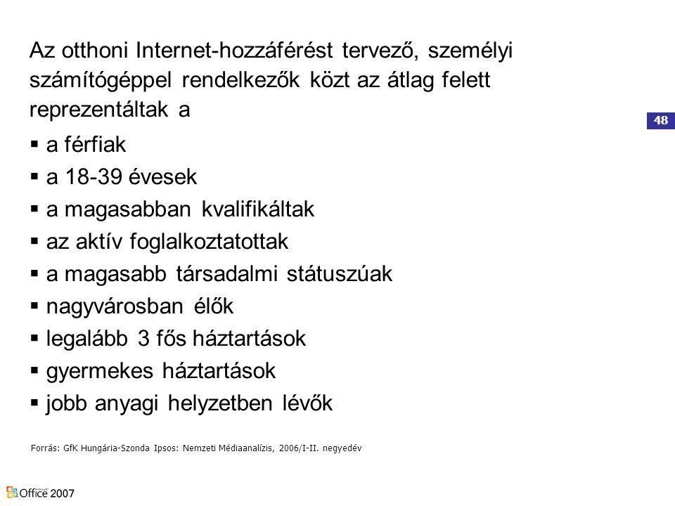 48 Az otthoni Internet-hozzáférést tervező, személyi számítógéppel rendelkezők közt az átlag felett reprezentáltak a  a férfiak  a 18-39 évesek  a magasabban kvalifikáltak  az aktív foglalkoztatottak  a magasabb társadalmi státuszúak  nagyvárosban élők  legalább 3 fős háztartások  gyermekes háztartások  jobb anyagi helyzetben lévők Forrás: GfK Hungária-Szonda Ipsos: Nemzeti Médiaanalízis, 2006/I-II.