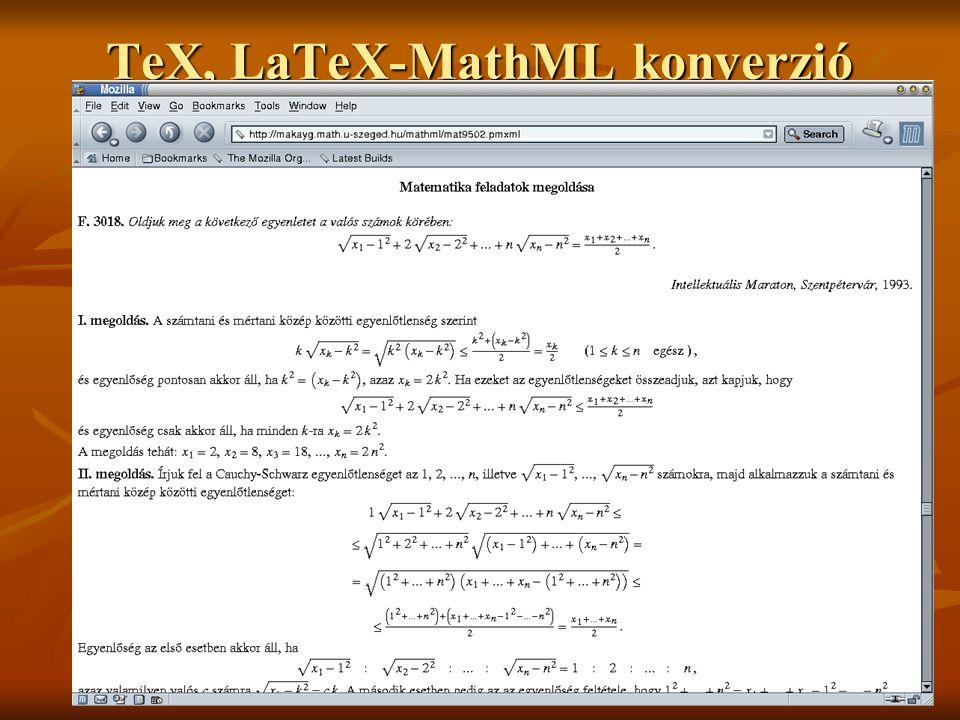 TeX, LaTeX-MathML konverzió