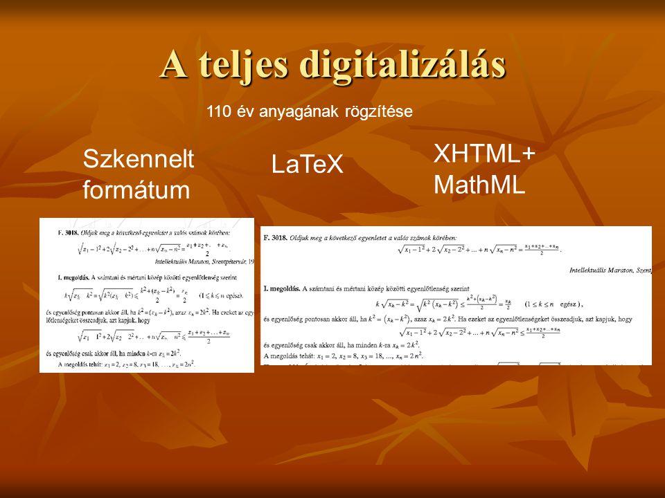A teljes digitalizálás 110 év anyagának rögzítése Szkennelt formátum LaTeX XHTML+ MathML