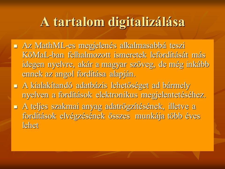 A tartalom digitalizálása  Az MathML-es megjelenés alkalmasabbá teszi KöMaL-ban felhalmozott ismeretek lefordítását más idegen nyelvre, akár a magyar
