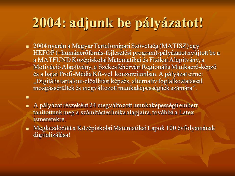 2004: adjunk be pályázatot!  2004 nyarán a Magyar Tartalomipari Szövetség (MATISZ) egy HEFOP (=humánerőforrás-fejlesztési program)-pályázatot nyújtot