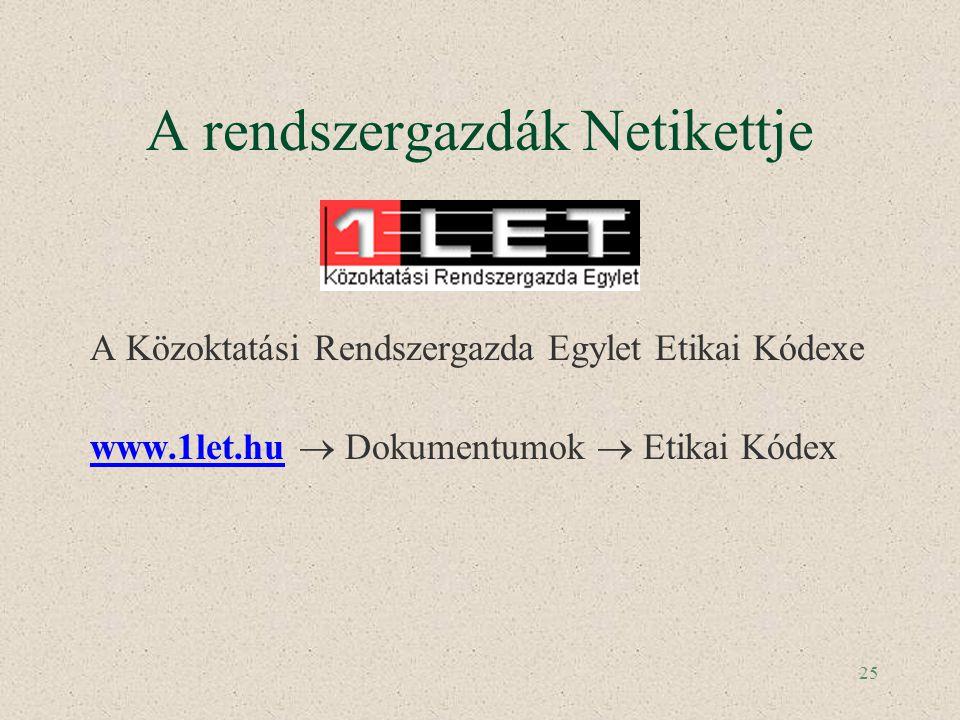 25 A rendszergazdák Netikettje A Közoktatási Rendszergazda Egylet Etikai Kódexe www.1let.hu  Dokumentumok  Etikai Kódex