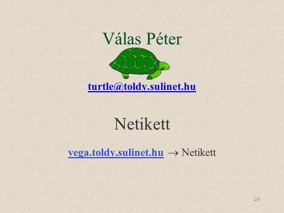 26 Válas Péter turtle@toldy.sulinet.hu Netikett vega.toldy.sulinet.huvega.toldy.sulinet.hu  Netikett