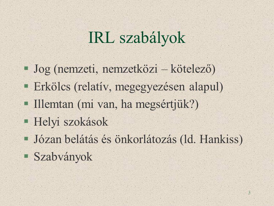 3 IRL szabályok §Jog (nemzeti, nemzetközi – kötelező) §Erkölcs (relatív, megegyezésen alapul) §Illemtan (mi van, ha megsértjük?) §Helyi szokások §Józa