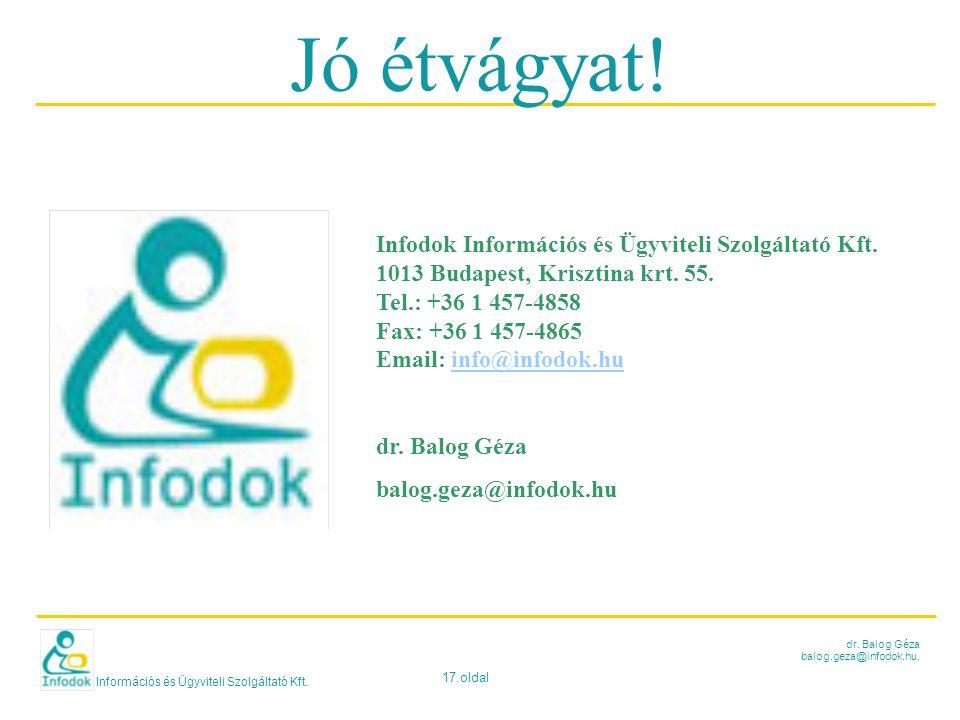 Információs és Ügyviteli Szolgáltató Kft. 17.oldal dr. Balog Géza balog.geza@infodok.hu. Jó étvágyat! Infodok Információs és Ügyviteli Szolgáltató Kft