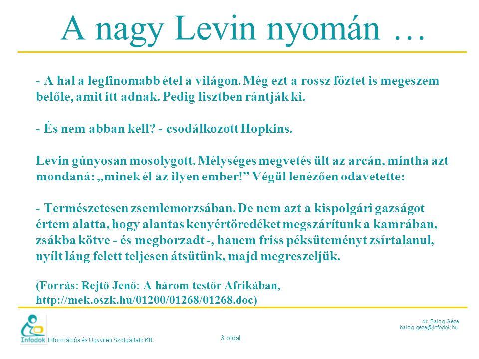 Információs és Ügyviteli Szolgáltató Kft. 3.oldal dr. Balog Géza balog.geza@infodok.hu. A nagy Levin nyomán … - A hal a legfinomabb étel a világon. Mé