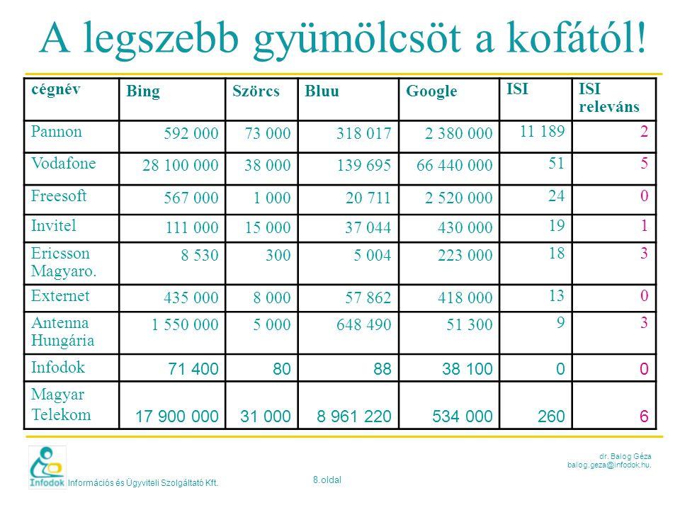 Információs és Ügyviteli Szolgáltató Kft. 8.oldal dr. Balog Géza balog.geza@infodok.hu. A legszebb gyümölcsöt a kofától! cégnév BingSzörcsBluuGoogle I