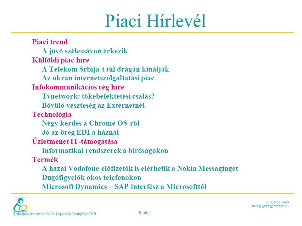 Információs és Ügyviteli Szolgáltató Kft. 9.oldal dr. Balog Géza balog.geza@infodok.hu. Piaci Hírlevél Piaci trend A jövő szélessávon érkezik Külföldi