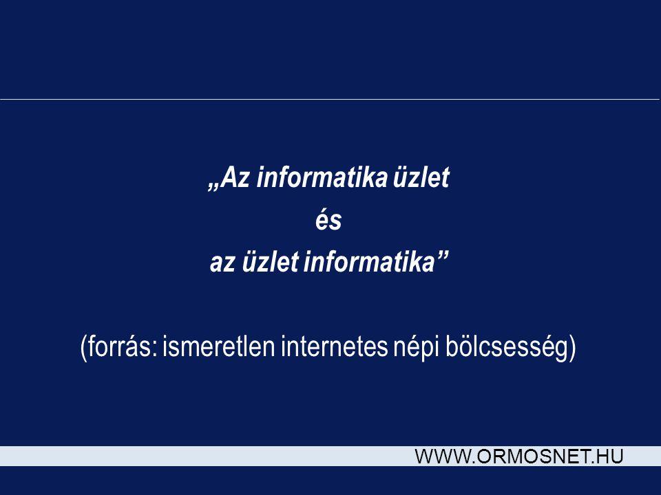 """WWW.ORMOSNET.HU """"Az informatika üzlet és az üzlet informatika"""" (forrás: ismeretlen internetes népi bölcsesség)"""