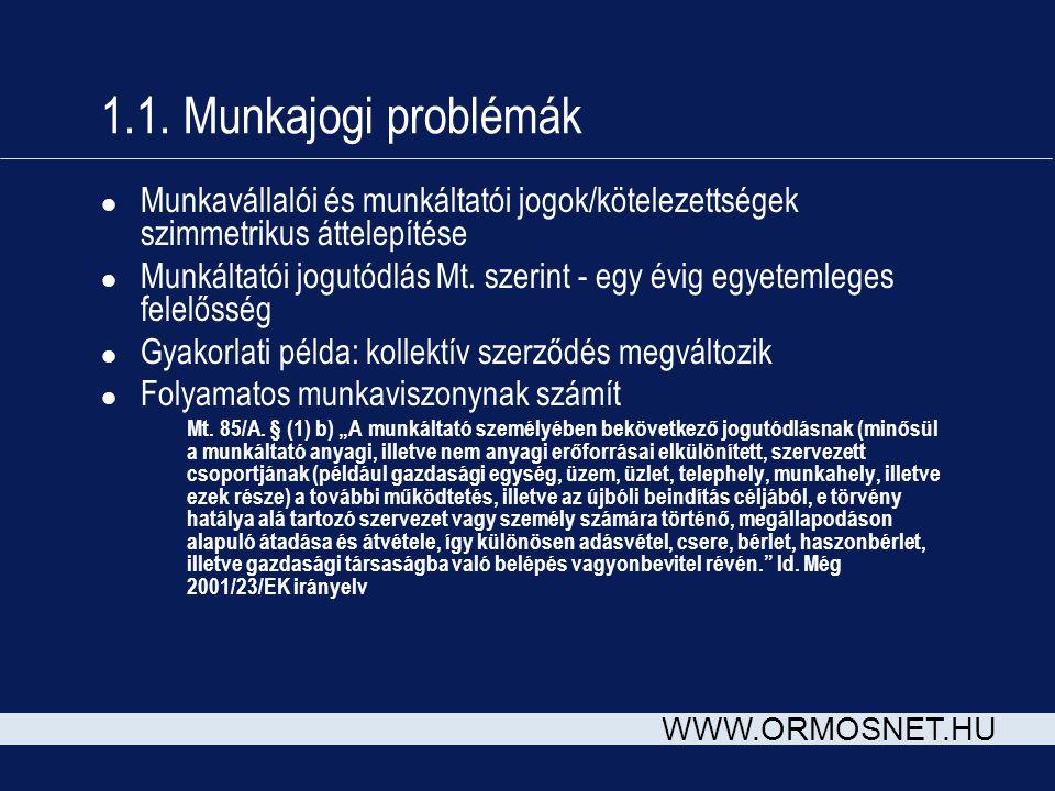 WWW.ORMOSNET.HU 1.1. Munkajogi problémák l Munkavállalói és munkáltatói jogok/kötelezettségek szimmetrikus áttelepítése l Munkáltatói jogutódlás Mt. s
