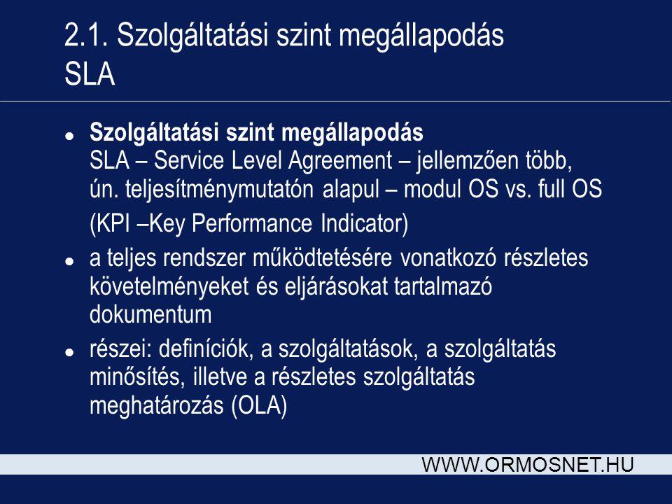 WWW.ORMOSNET.HU 2.1. Szolgáltatási szint megállapodás SLA l Szolgáltatási szint megállapodás SLA – Service Level Agreement – jellemzően több, ún. telj