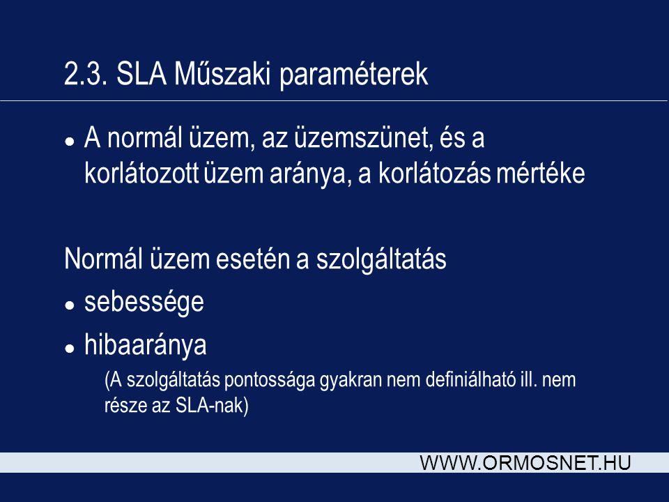 WWW.ORMOSNET.HU 2.3. SLA Műszaki paraméterek l A normál üzem, az üzemszünet, és a korlátozott üzem aránya, a korlátozás mértéke Normál üzem esetén a s