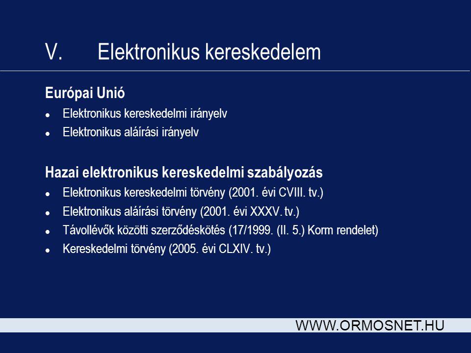 WWW.ORMOSNET.HU V. Elektronikus kereskedelem Európai Unió l Elektronikus kereskedelmi irányelv l Elektronikus aláírási irányelv Hazai elektronikus ker