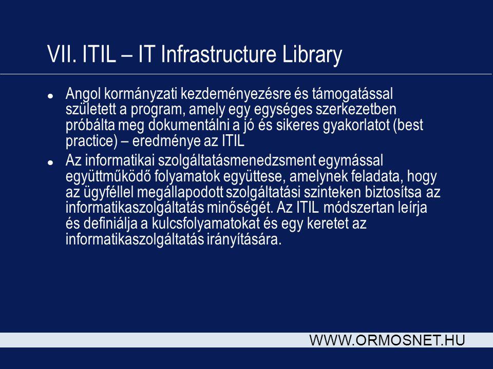 WWW.ORMOSNET.HU VII. ITIL – IT Infrastructure Library l Angol kormányzati kezdeményezésre és támogatással született a program, amely egy egységes szer