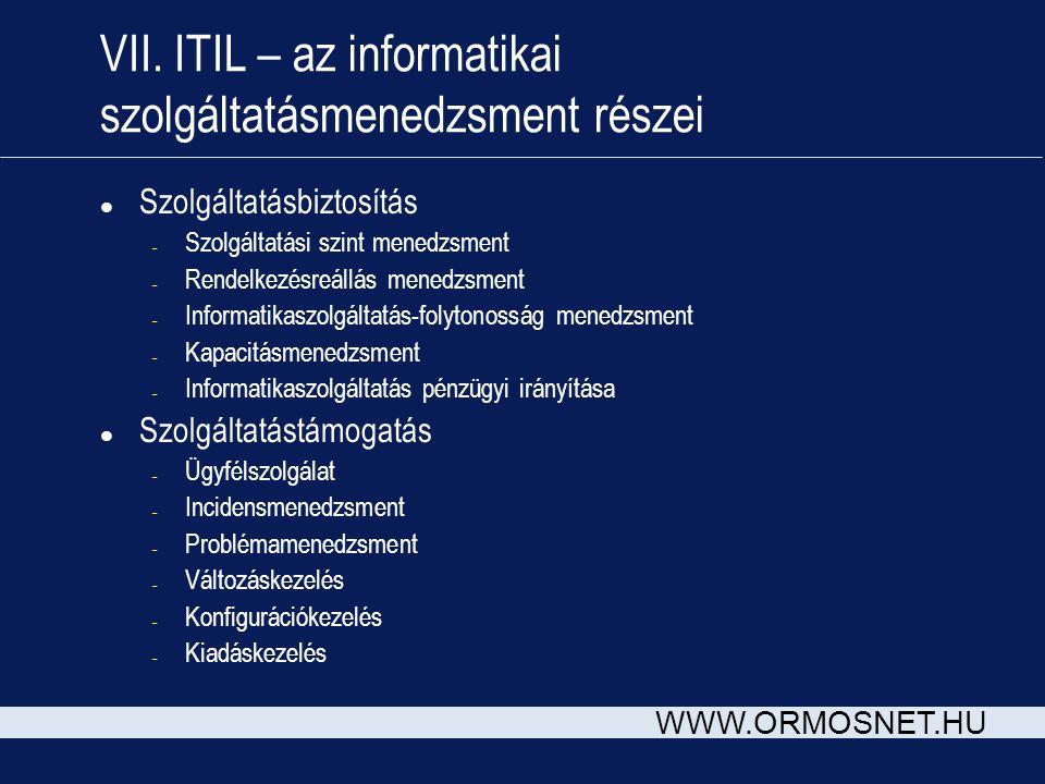 WWW.ORMOSNET.HU VII. ITIL – az informatikai szolgáltatásmenedzsment részei l Szolgáltatásbiztosítás – Szolgáltatási szint menedzsment – Rendelkezésreá