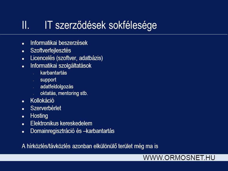 WWW.ORMOSNET.HU II. IT szerződések sokfélesége l Informatikai beszerzések l Szoftverfejlesztés l Licencelés (szoftver, adatbázis) l Informatikai szolg
