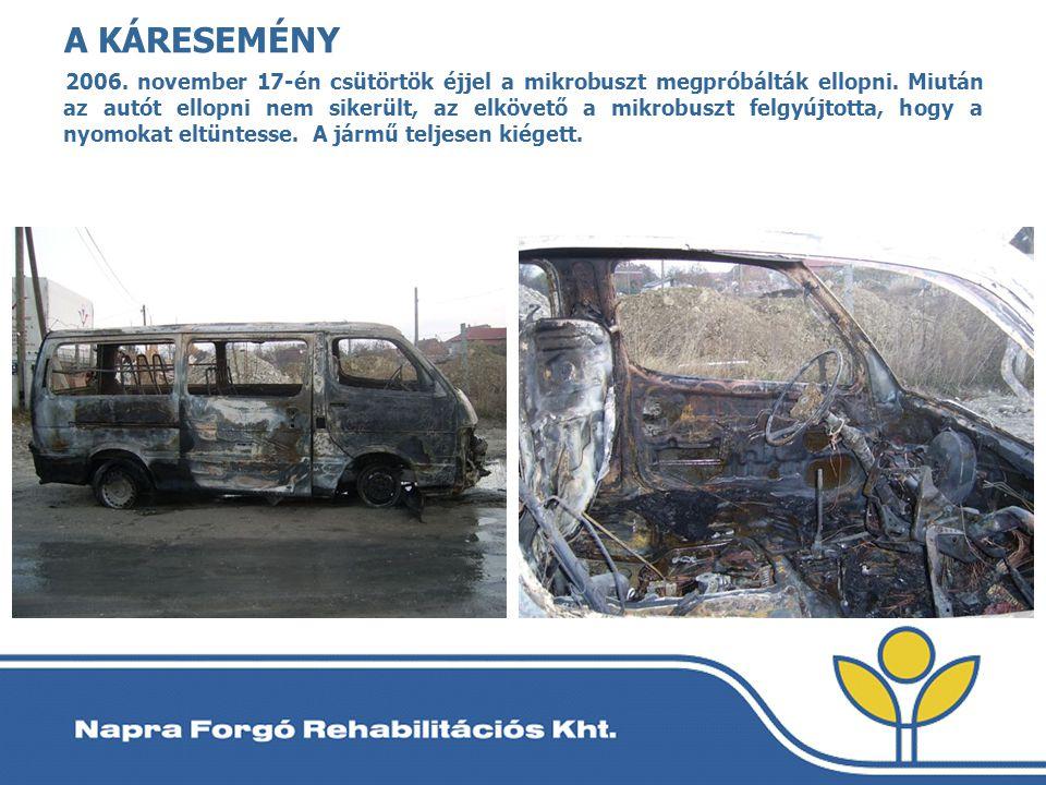 A KÁRESEMÉNY 2006. november 17-én csütörtök éjjel a mikrobuszt megpróbálták ellopni. Miután az autót ellopni nem sikerült, az elkövető a mikrobuszt fe