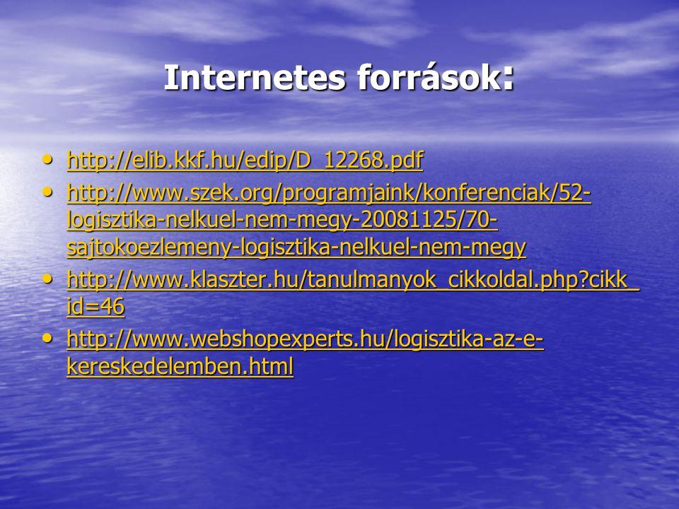 Internetes források : • http://elib.kkf.hu/edip/D_12268.pdf http://elib.kkf.hu/edip/D_12268.pdf • http://www.szek.org/programjaink/konferenciak/52- lo
