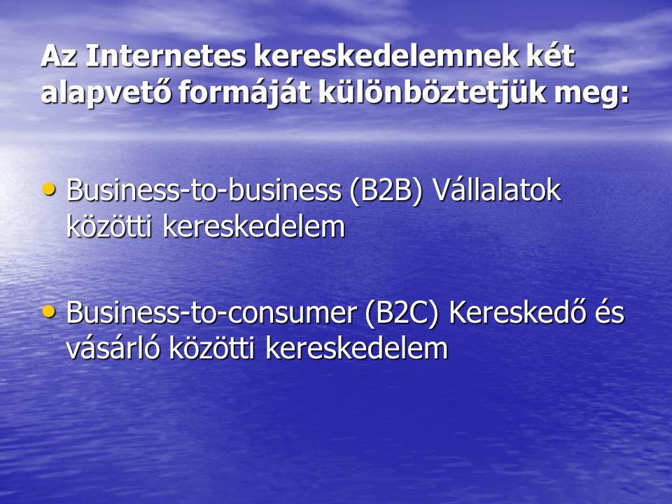 Az Internetes kereskedelemnek két alapvető formáját különböztetjük meg: • Business-to-business (B2B) Vállalatok közötti kereskedelem • Business-to-con