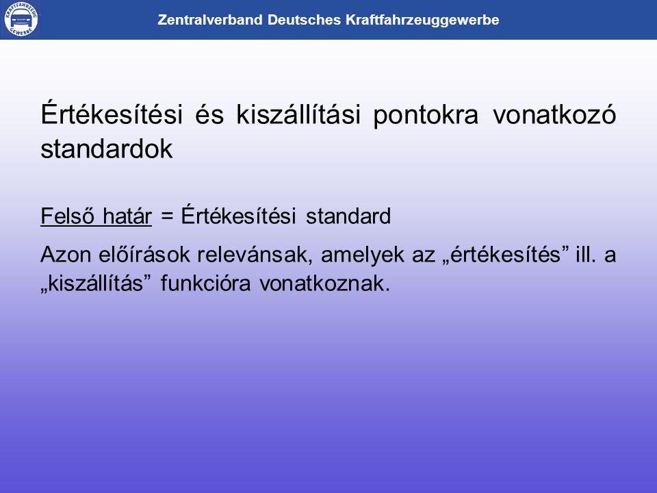 """Zentralverband Deutsches Kraftfahrzeuggewerbe Értékesítési és kiszállítási pontokra vonatkozó standardok Felső határ = Értékesítési standard Azon előírások relevánsak, amelyek az """"értékesítés ill."""