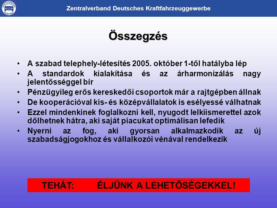 Zentralverband Deutsches Kraftfahrzeuggewerbe Összegzés •A szabad telephely-létesítés 2005.