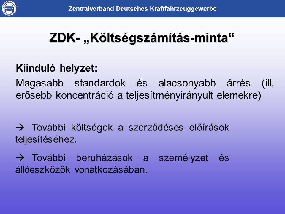"""Zentralverband Deutsches Kraftfahrzeuggewerbe ZDK- """"Költségszámítás-minta Kiinduló helyzet: Magasabb standardok és alacsonyabb árrés (ill."""
