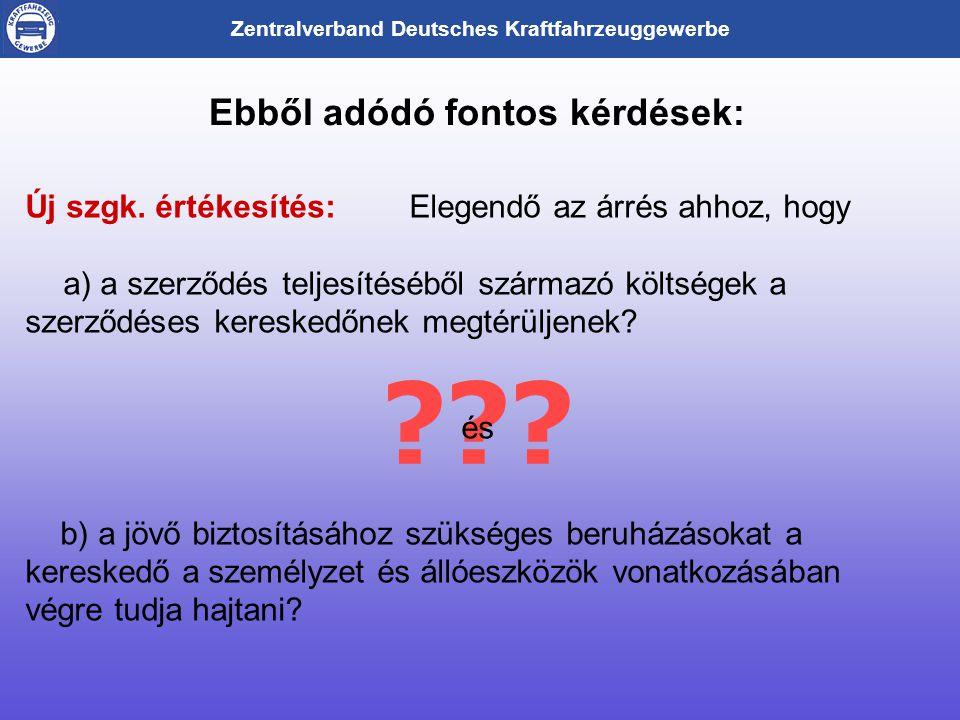 Zentralverband Deutsches Kraftfahrzeuggewerbe Ebből adódó fontos kérdések: .