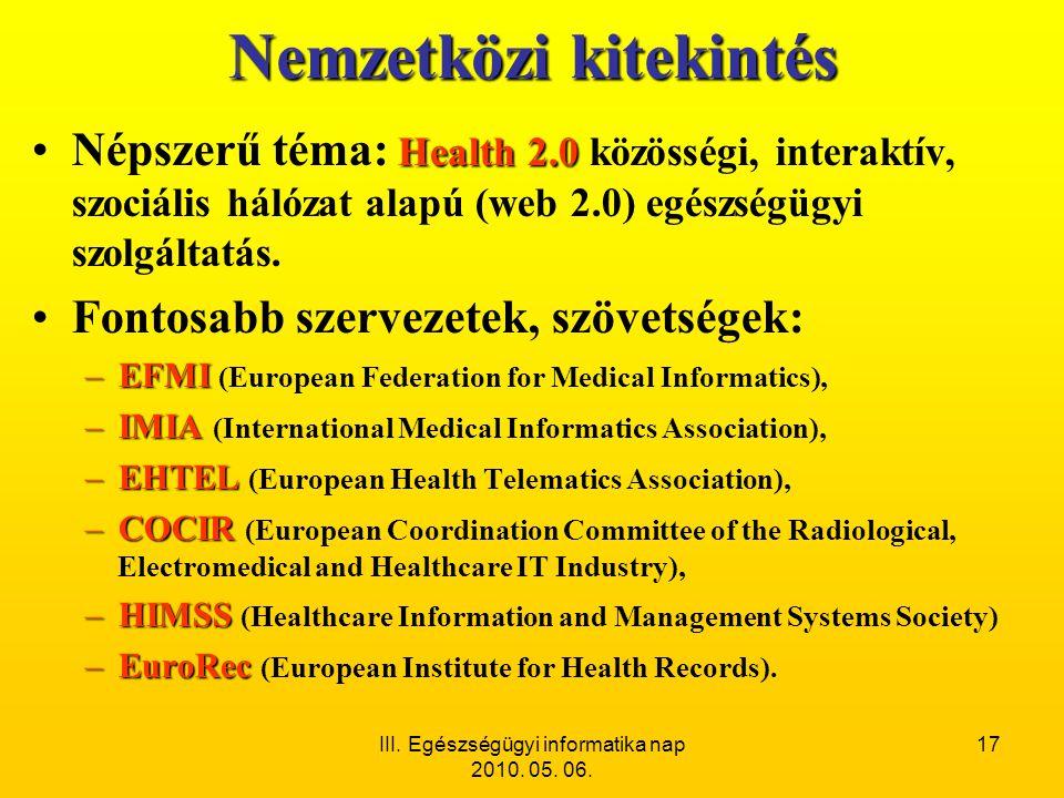 III. Egészségügyi informatika nap 2010. 05. 06. 17 Nemzetközi kitekintés Health 2.0 •Népszerű téma: Health 2.0 közösségi, interaktív, szociális hálóza