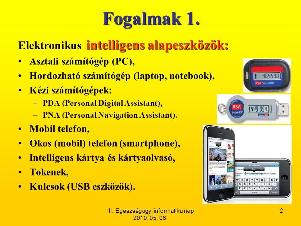 III. Egészségügyi informatika nap 2010. 05. 06. 2 Fogalmak 1. intelligens alapeszközök: Elektronikus intelligens alapeszközök: •Asztali számítógép (PC