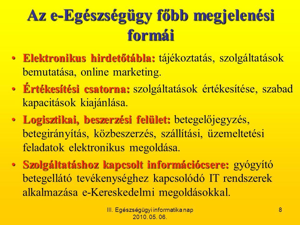 III. Egészségügyi informatika nap 2010. 05. 06. 8 Az e-Egészségügy főbb megjelenési formái •Elektronikus hirdetőtábla: •Elektronikus hirdetőtábla: táj