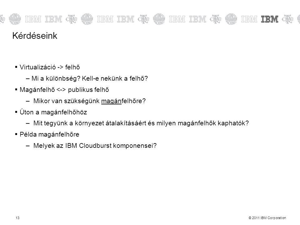 © 2011 IBM Corporation13 Kérdéseink  Virtualizáció -> felhő –Mi a különbség? Kell-e nekünk a felhő?  Magánfelhő publikus felhő – Mikor van szükségün