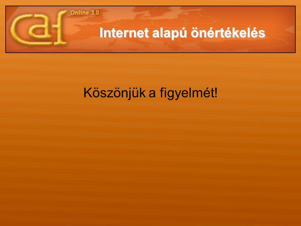 Köszönjük a figyelmét! Internet alapú önértékelés