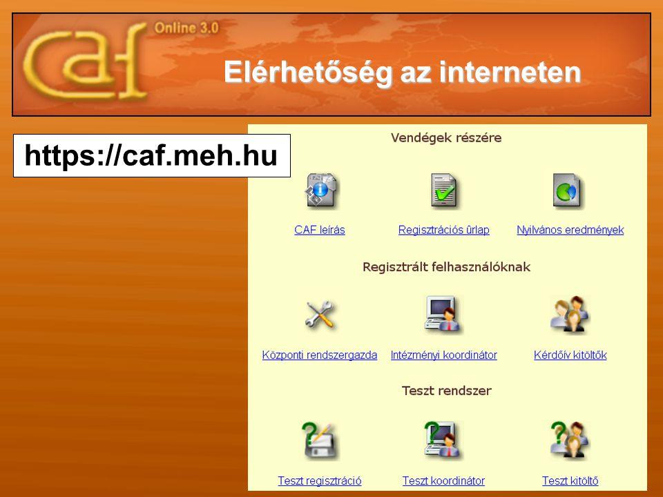 Elérhetőség az interneten https://caf.meh.hu