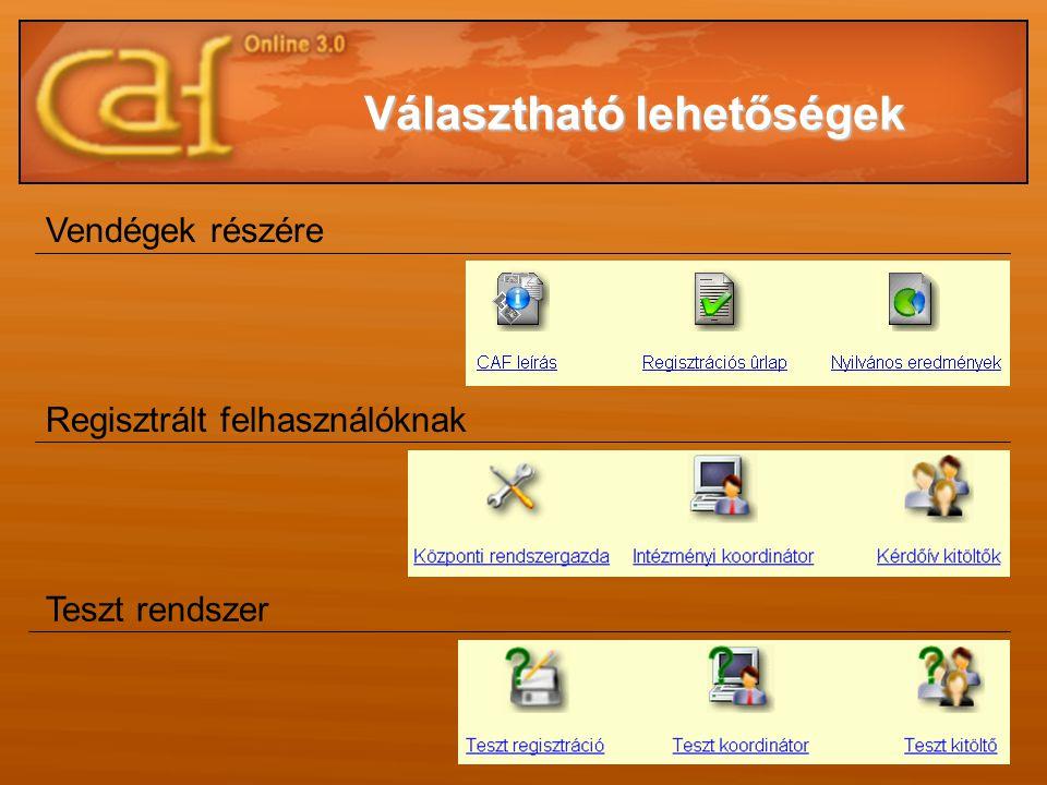 Vendégek részére Regisztrált felhasználóknak Teszt rendszer Választható lehetőségek