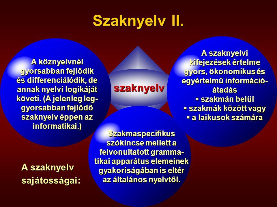 Szaknyelv I. A szakmai nyelvvizsgáztatás fő fi- gyelme a nyelv kommunikatív funkciójá- ra irányul.