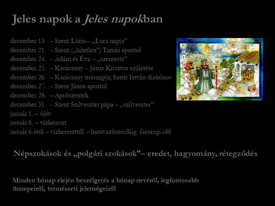 "Jeles napok a Jeles napokban december 13.– Szent Lúcia – ""Luca napja december 21."