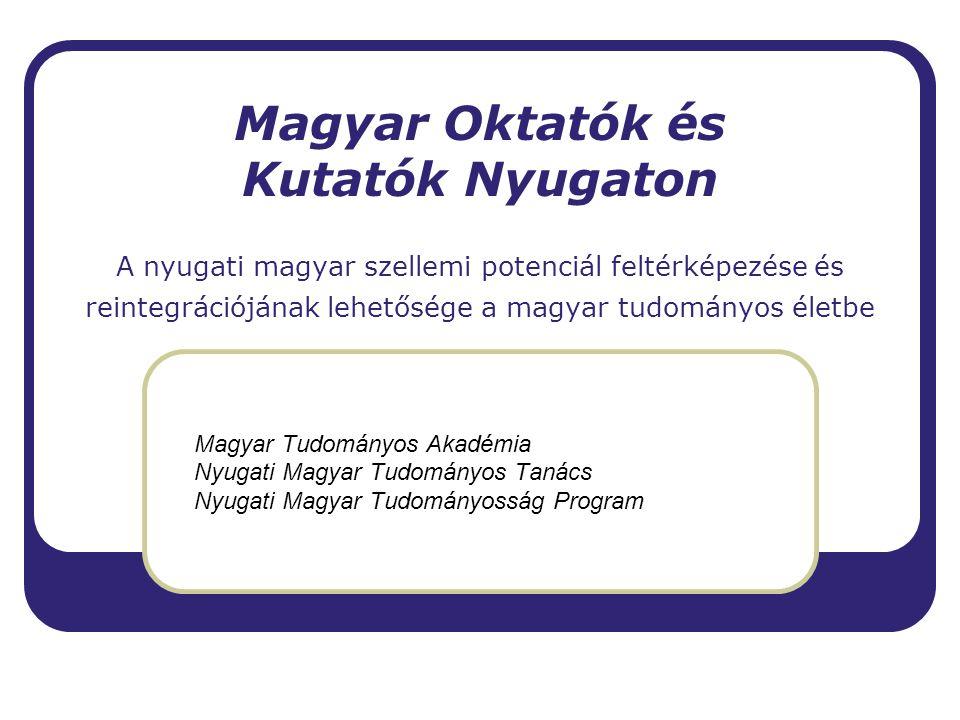 Kott Ferenc MTA-NYMTT A kutatás célja, módszere  Az MTA adatbázisaiban eddig nem szereplő - nem akadémikus, MTA Doktor vagy köztestületi tag -,nyugaton élő és dolgozó magyar származású tudósok felkutatása.